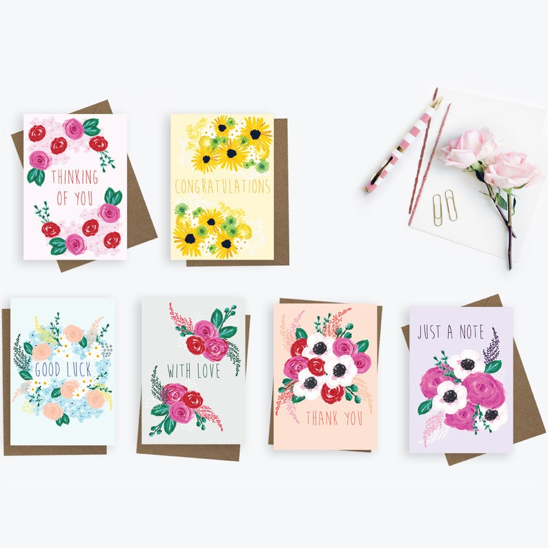 thinking of you card congratulations card with love card thank you card just a note card Set of 6 greetings cards good luck card