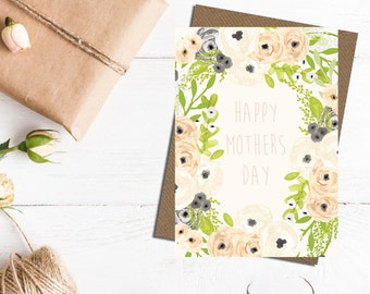 Happy Mother's Day card, mothers day card, floral mothers day card, mom card