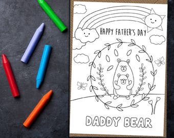 Colour in Father's Day card, Happy Father's Day card, card for dad, card for daddy, colour in card, daddy bear card, color in card