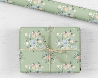 Floral birthday wrapping paper, gift wrap, birthday gift wrap, wrapping paper sheet, wedding gift wrap