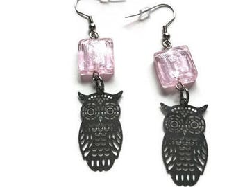 Earrings, stainless steel, owls, glass, pink, gift, jewelry, hypoallergenic, owls earrings
