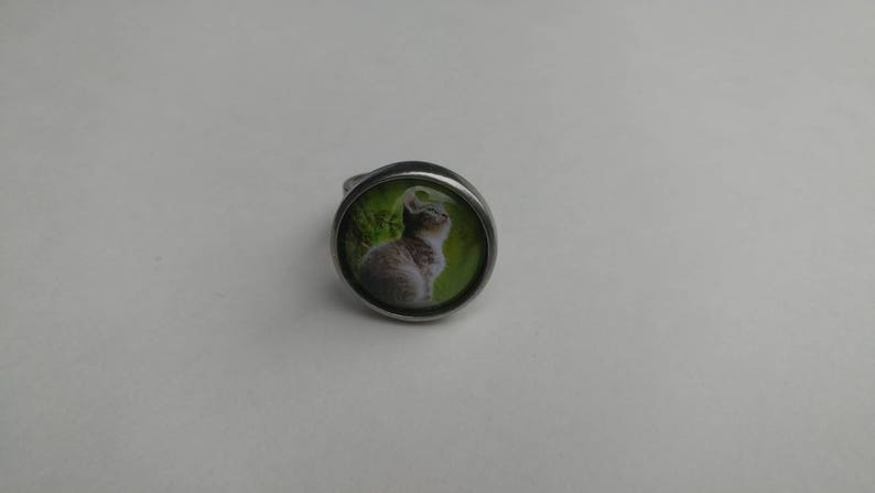 cat cabochon hypoallergenic ring cat Pewter ring Les Aristopattes adjustable ring cat ring