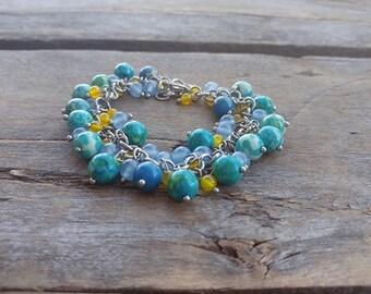 Jasper bracelet, rainbow jasper, agate bracelet, gemstone bracelet, natural stone bracelet, gift, chic bracelet, colorful bracelet