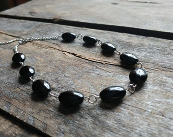 Choker, short necklace, chic necklace, classic necklace, onyx, stone necklace, black necklace, gift, woman gift
