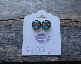 Owls earrings, ear studs, cabochons, glass cabochons, owls, owls earrings, girl gift, gift