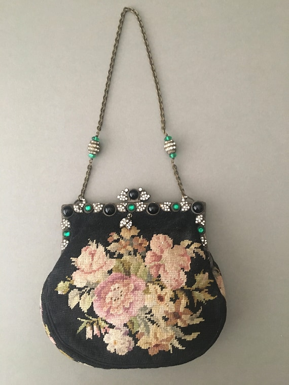 A gorgeous antique needlepoint bag, late Edwardian