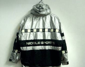 Vintage Nicole Sport Ski Team Spellout Black and White Chekered Ski Jacket