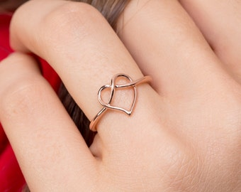 Love Knot Ring , Heart Knot Ring , Infinity Heart Ring , 925 Sterling Silver ( Small )