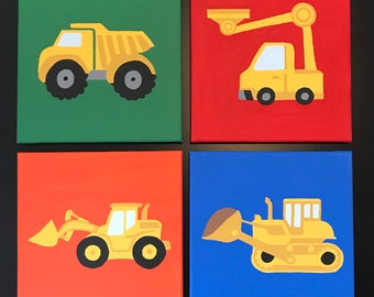 Construction Trucks Canvas Paintings
