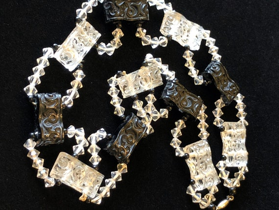 Art Deco Design- Mid 1930's- Carved Glass Necklace