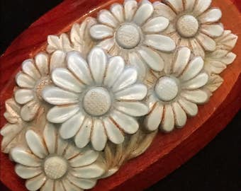 """1930's Pressed Celluloid Light Blue Daisy Pin With Wooden Base 2.50"""""""