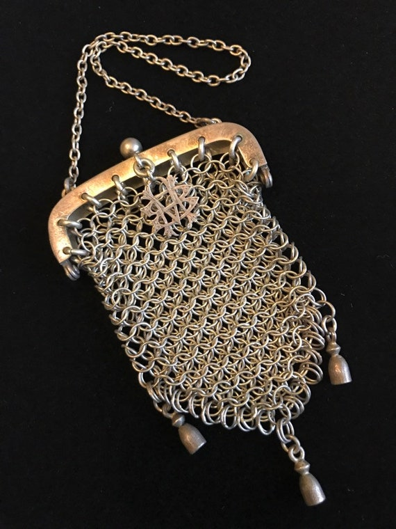 Sterling 1860s-Antique Victorian Chainmaille Chate