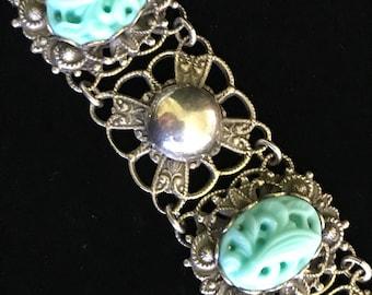 """Art Deco Antique Peking Glass Bracelet 8"""""""
