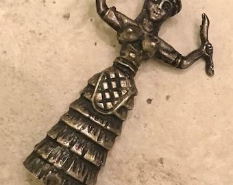 "Antique 1800s Minoan Snake Goddess from Crete (Victorian Design) 1.75"""