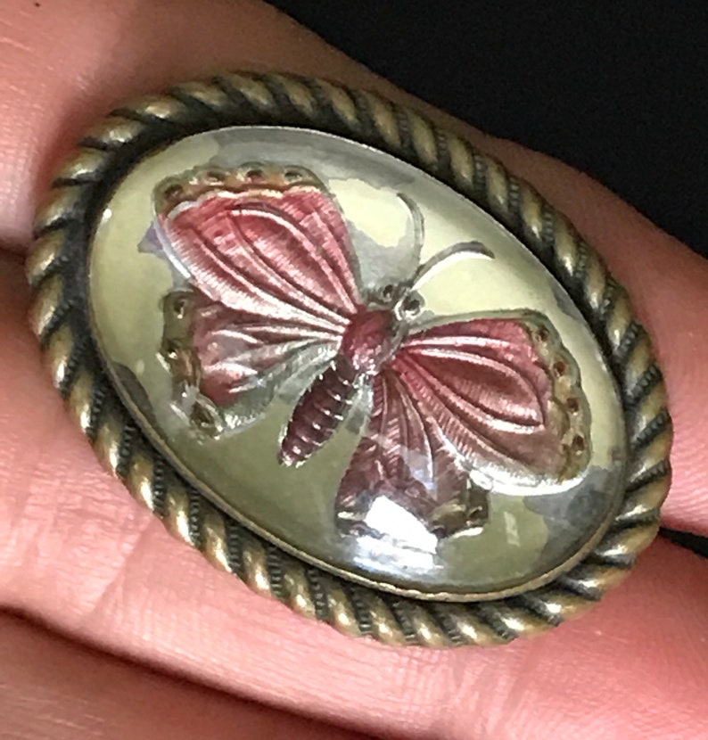 Antique Victorian Reverse Intaglio-Butterfly Silver 1.50 1900-1910