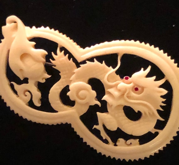 Late 1920s- Chinese Export Carved Dragon  (Bone Pi