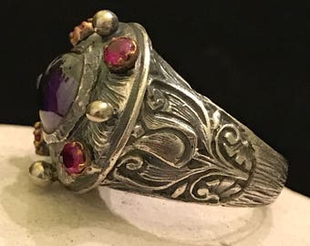 Sterling Germanic Folkloric Ring Size 7.5