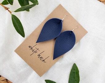 Navy blue berry drop earrings Handmade button earrings Canadian made drop earrings Blueberry drop earrings Navy blue button earrings