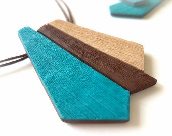 Geometric necklace turquoise, Teal statement necklace, Turquoise necklace statement, Brown necklace, Geometric jewelry, Teal jewelry