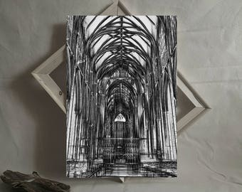 Black And White Contemporary Digital Art Gothic Urban Wall Modern Church Architecture Artwork Instant Download