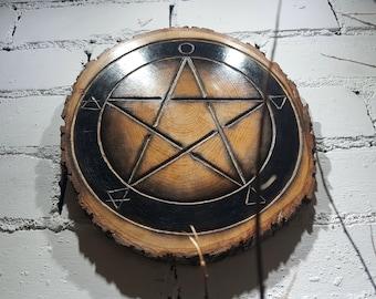 Pentagram Altar Board / Shrine / Wall Hanging. Beautiful Pagan Decor Made from Solid Oak