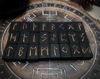 Elder Futhark Rune Set Made Of Charred Black Birch Wood with Black Cotton Drawstring Sack. Norse | Asatru | Viking | Pagan | Witches Runes