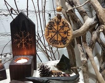 Vegvisír (Path Finder) Viking Talisman / Altar Tile made From Reclaimed Birch Wood Slice.