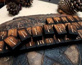 Anglo Saxon Futhorc Rune Set Handmade from Charred Birch Wood.