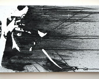 Hurt - Original Painting | Large Highly Textured, Black and White Minimal, Abstract Figurative Portrait.