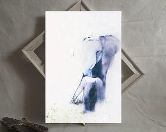 Mother and Baby Elephant Printable Art. Safari Wildlife Artwork. Nursery Wall Art. Digital Download Contemporary Art Home Decor