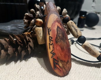 Freya's Tear - Handcrafted Rosewood Pendant Pyrographed with the Goddesses Name In Runes, Complimented by Hibiscus and Charred Pine Beads.