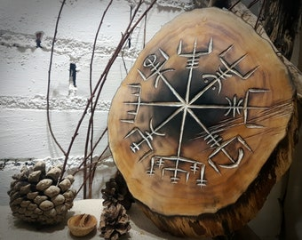 Vegvisir Altar / Divination Board Carved into Solid Wane Edged Ash Wood Log Slice. Wall Hanging | Norse Pagan Decor