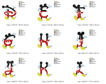 Mickey Alphabet Embroidery Font Monogram 26 Designs: pes, dst, jef, hus,exp,vip, vp3,inf,xxx (4x4) DISNEY Mickey Mouse ClubHouse Club House
