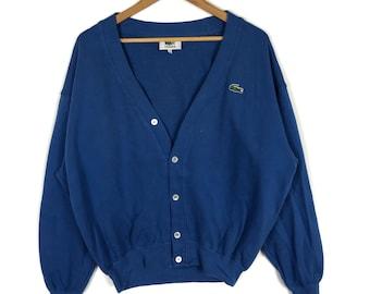 7058b91c3 Vintage LACOSTE Crocodile Embroidery Blue Cardigan Sweatshirt 5 Size La  Chemise Lacoste Tennis 90s Lacoste Streetwear Sweater Gift