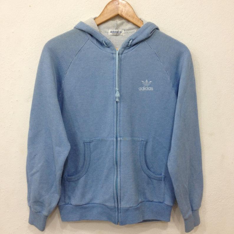 57e5997df25e5 Vintage ADIDAS Trefoil Blue Hoodie Jacket Medium Size Casual | Etsy