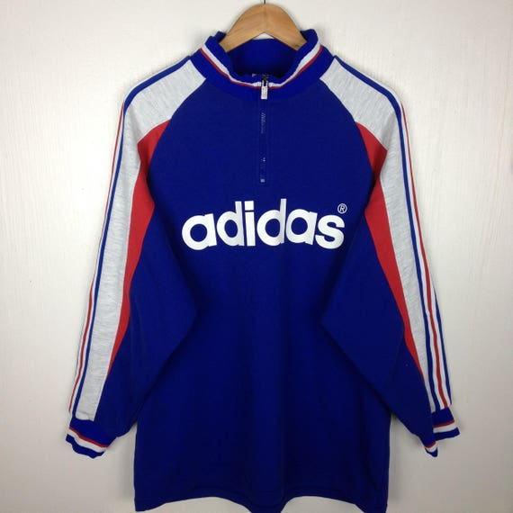 low priced 0ee3a d2066 Rare Vintage 90s ADIDAS MULTI COLOR Big Logo Spell Out Blue   Etsy