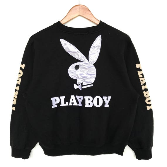 Playboy Sweatshirt Jumper Long Sleeve Spell Out Big Logo Bunny Black Color Streetwear Clothing Medium Size Unisex Adult
