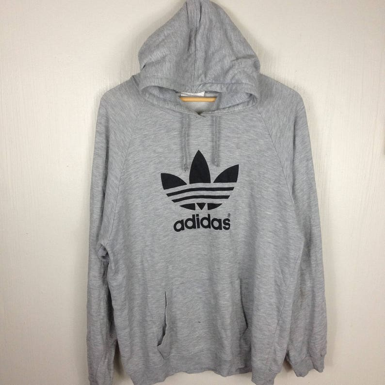 9096e8acea44d Vintage 90s ADIDAS TREFOIL Big Logo Grey Hoodie Sweatshirt | Etsy