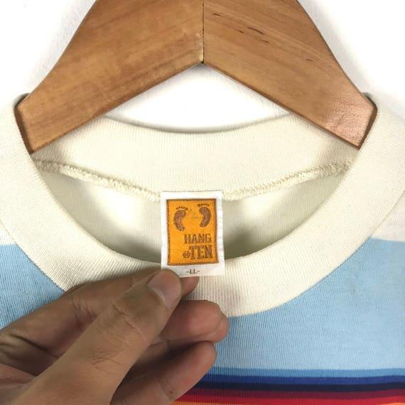 80 s 90 s s 90 accrocher dix rayures petit Logo Hawaii surf T Shirt L L taille Hip Hop Swag Streetwear Basic cadeau f69278