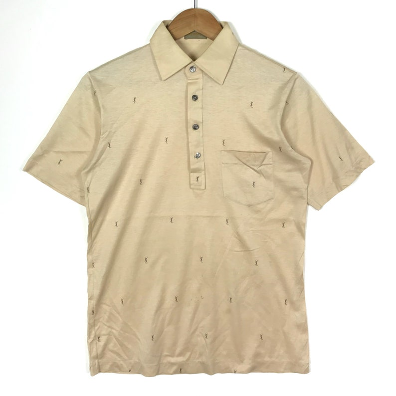 6b5a814dc67 Vintage 90s YVES SAINT LAURENT Ysl All Over Print Light Brown | Etsy