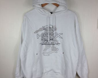 TONY HAWK SKATEBOARD White Hoodie Medium Size Pushead Vintage 90s Skate Hip Hop Swag Streetwear Fashion Sweatshirt T Shirt Jacket Gift