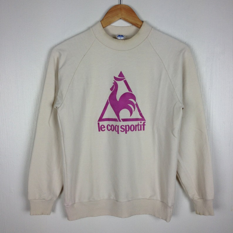Vintage 90s LE COQ SPORTIF Cream Pullover Sweatshirt Small Size Hip Hop Swag Streetwear Basic Gift