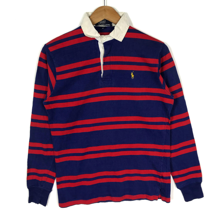 Vintage des années 90 POLO RALPH LAUREN LAUREN RALPH Rugby rayures petit  poney bleu rouge Polo 72830a3a09b8