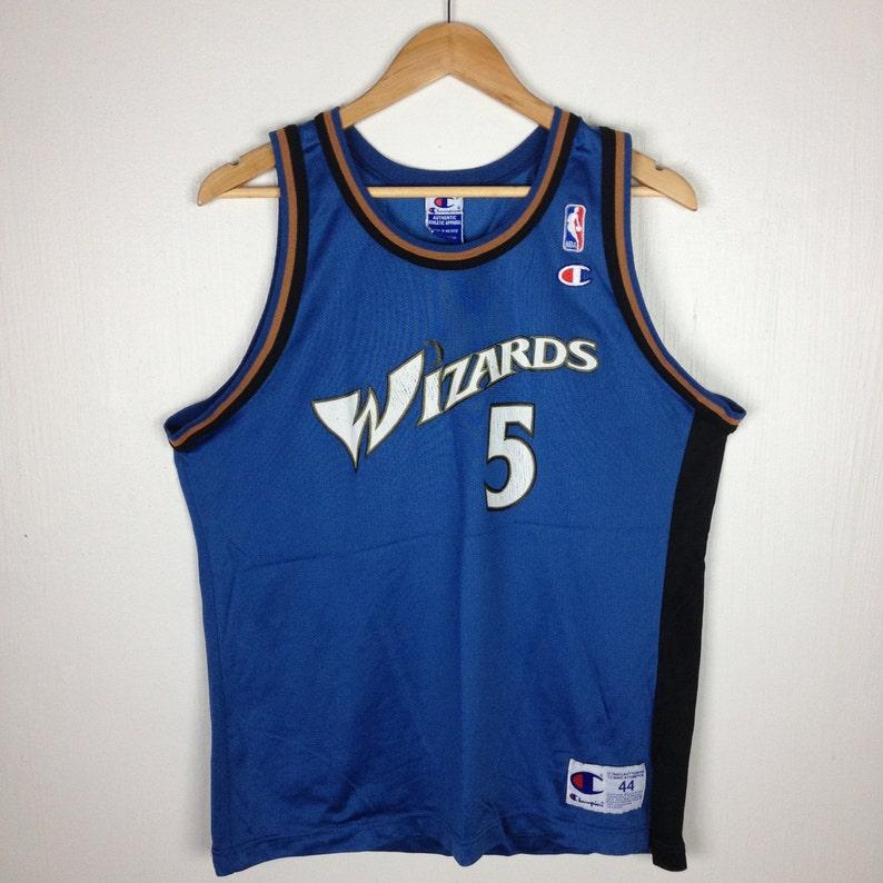 sports shoes b1c18 4bb44 Vintage WIZARDS JUWAN HOWARD Nba Jersey Champion Blue Shirt 44 Size Hip Hop  Swag Streetwear Sweatshirt Usa Skateboard Basketball Sport Gift