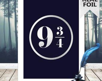 A4/A3 Platform 9 3/4 Print - Harry Potter Print - Harry Potter Poster - Harry Potter Art - Harry Potter Gold Foil Print - Home Decor