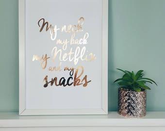 Funny Netflix Wall Print - Netflix Poster - Netflix Art - Netflix Picture - Rose Gold Home Decor Foil Print - Wall Art - Bedroom Prints