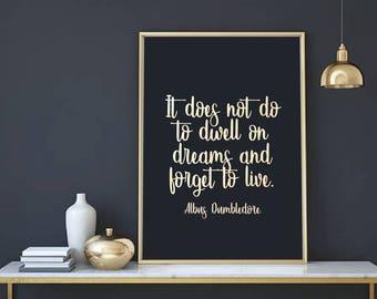Harry Potter Print - Harry Potter Poster - Harry Potter Picture - Albus Dumbledore Quote - Harry Potter Art - Silver Foil Print - Dreams