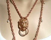 Lions Head Door Knocker Necklace on 16 quot Vintage Thick Copper Rope Chain