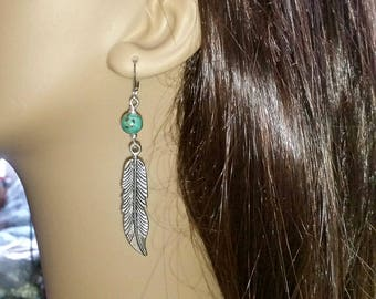Silver Feather Earrings With African Turquoise Beads
