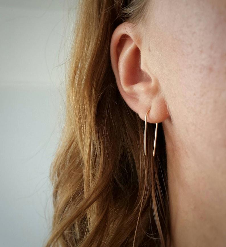 modern minimal earrings open hoop Sterling Silver minimalist staple pin arch earrings medium length